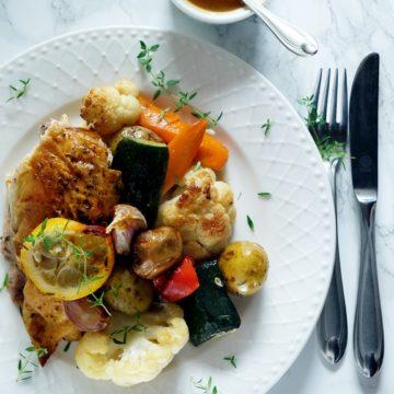 Pieczony kurczak z warzywami i sosem (jednoblaszkowe)