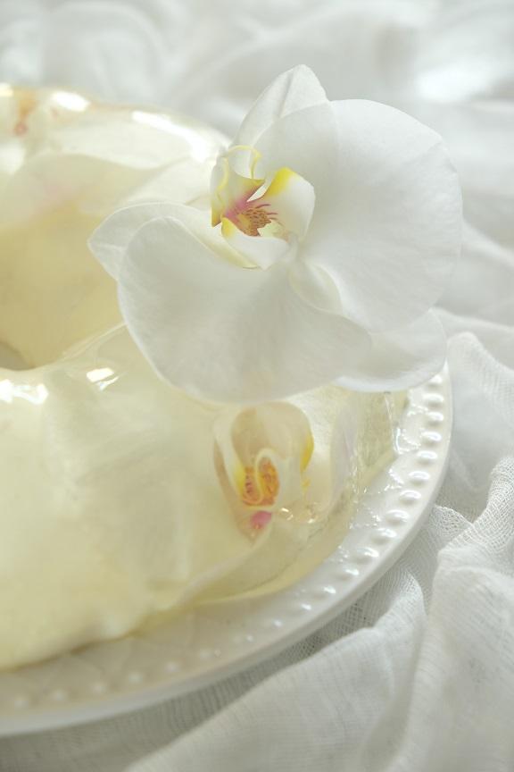 biały sernik z galaretką i kwiatami storczyka