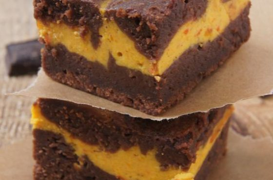 Brownie z serem i dynią