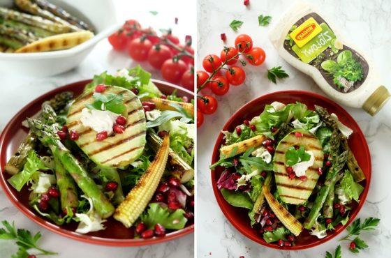 Sałatka z grillowanymi warzywami i sosem ziołowym Winiary